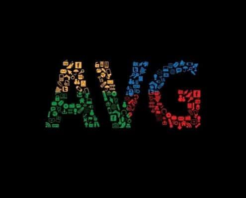 AVG iconen visual op zwarte achtergrond