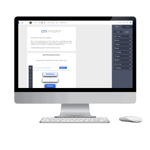 Nieuwsbrief editor op desktop beeldscherm