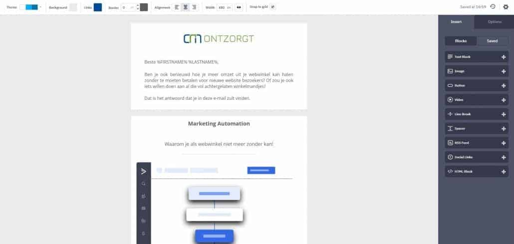 ActiveCampaign Manager nieuwsbrief editor